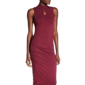 Michael Stars – Ruched Mock Neck Dress GARNET  XS